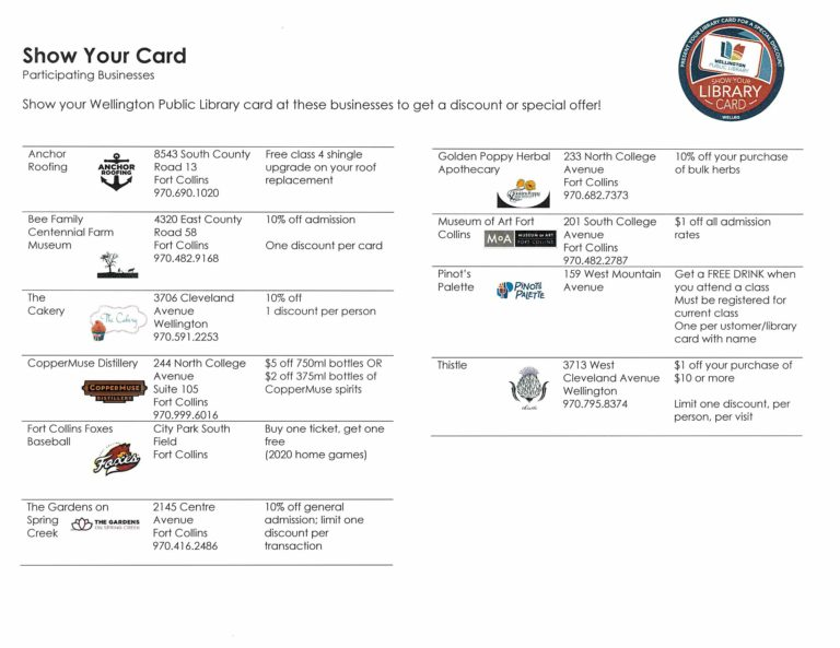 show your card participating businesses